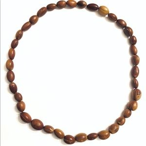 Vintage Chinese Polished Fruit Pit Brown Necklace